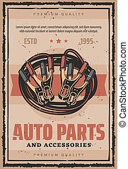 Car service auto parts repair vector retro poster