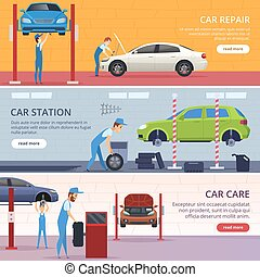 Car service banners. Mechanic workshop repair auto vector advertising banners