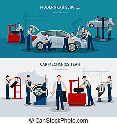 Car Service Banners Set