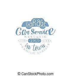 Car Service Blue Vintage Stamp