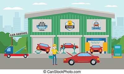 Car service building vector illustration. Car wash, repair, ...