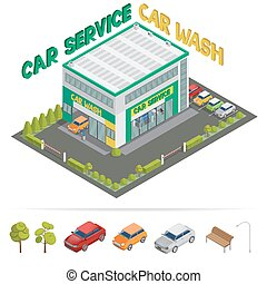 Car Service. Car Wash. Isometric Building. Isometric Transportation. Vector illustration
