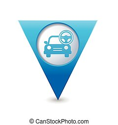 Car with steering wheel icon