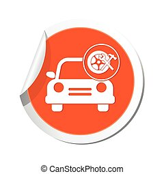 Car with wheel and tools icon