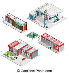 Car Service Center Buildings Isometric Composition