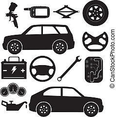 Car service - A set of different silhouettes, denoting car...