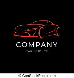 Car service company logo with sport vehicle silhouette on black background. Modern template label of auto dealer.
