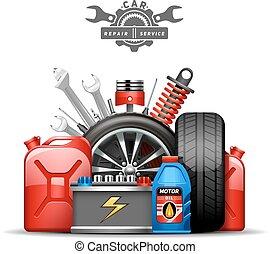 Car Service Composition Ad  Flat Illustration