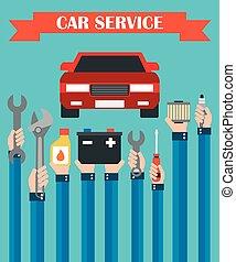 Car service concept vector flat
