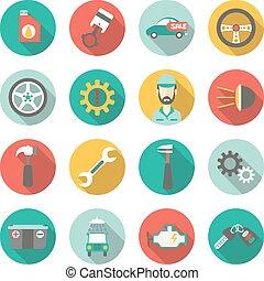 Car service flat icons. Vector illustration
