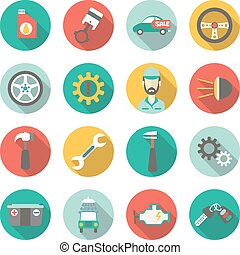 Car service flat icons. Vector illustration