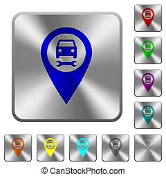 Car service GPS map location rounded square steel buttons