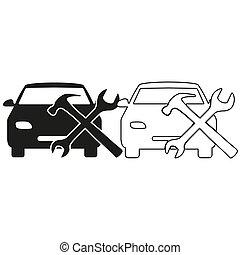 car service - green vector icon