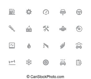 Car Service Icons // 32px White Series