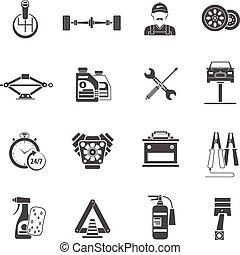 Car Service Icons Black