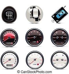 Car service icons. P.4 - Set of the car repair and...