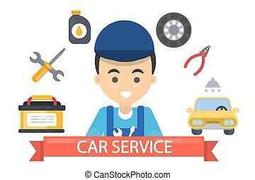 Car service illustration.
