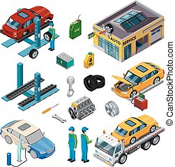 Car Service Isometric Decorative Icons