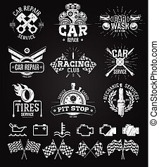 Car service Labels, Emblems and Logos chalk drawing