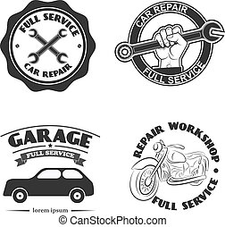 car service labels. Set of design elements in vector