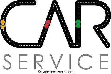 Car service logo template - asphalt road with small vehicles