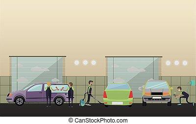 Car service, machine repair concept vector illustration in ...