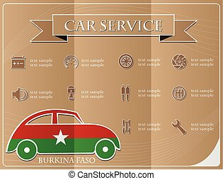 Car service, made from the flag of Burkina Faso, vector illustration