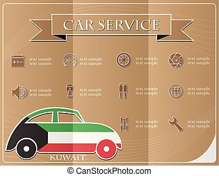 Car service, made from the flag of Kuwait, vector illustration