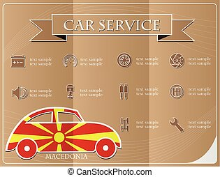 Car service, made from the flag of Macedonia, vector illustration