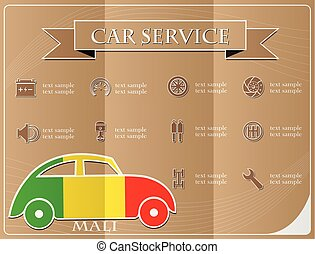 Car service, made from the flag of Mali, vector illustration