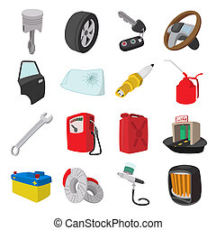 Car service maintenance cartoon icons