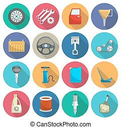 Car service maintenance flat icon set