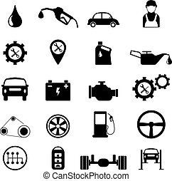 Car service maintenance or checking icon set. vector illustration.
