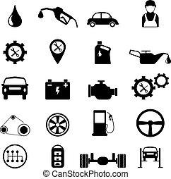 Car service maintenance or checking icon set. vector illustration.