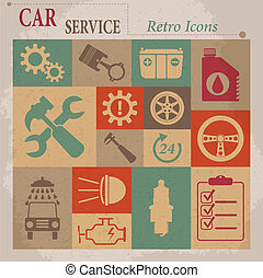 Car service maintenance vector flat retro icons.
