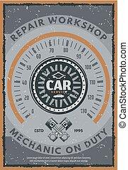 Car service or auto repair workshop vintage card
