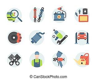 Car service parts flat vector illustration auto mechanic repair of machines and automobile equipment