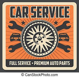 Car service poster with tire and wrenches