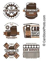Car service, repair shop retro icon with auto part
