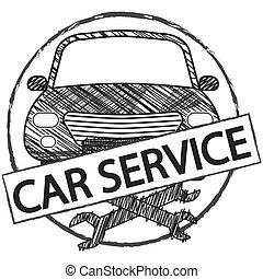 Car service retro logo in doodle style.