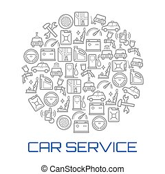 Car service round poster of auto repair shop icon
