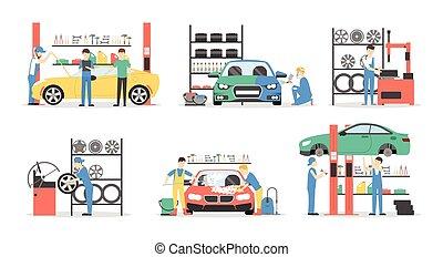 Car service set.