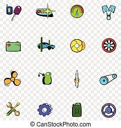Car service set icons