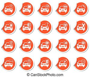 Car service. Set of stickers