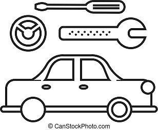 car service sign vector line icon, sign, illustration on background, editable strokes