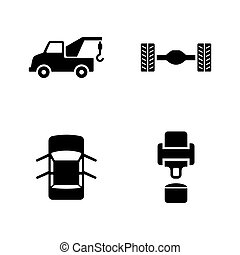Car service. Simple Related Vector Icons