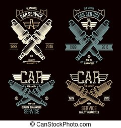 Car service spark-plug emblems in retro style. Graphic...