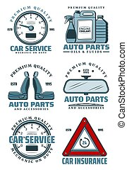 Car service icons for auto parts store and mechanic repair on garage transport station. Vector symbols of car speedometer, engine chemicals of oil, coolant and driver insurance