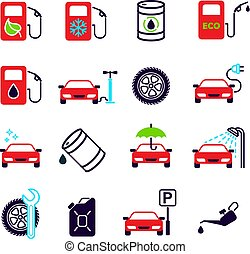 Car service station. Set of 16 color vector icons. - Color...