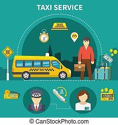 Car Service Taxi Composition